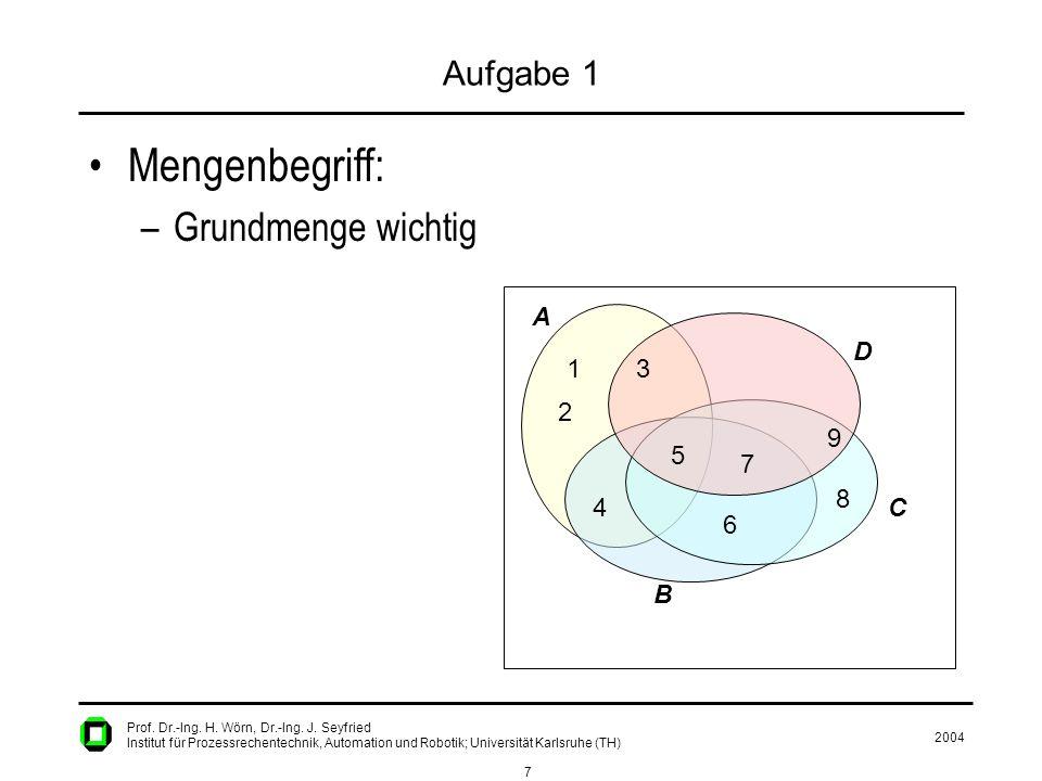 2004 7 Prof. Dr.-Ing. H. Wörn, Dr.-Ing. J. Seyfried Institut für Prozessrechentechnik, Automation und Robotik; Universität Karlsruhe (TH) Aufgabe 1 Me