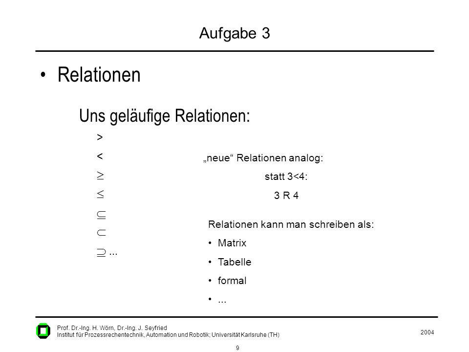 2004 9 Prof. Dr.-Ing. H. Wörn, Dr.-Ing. J. Seyfried Institut für Prozessrechentechnik, Automation und Robotik; Universität Karlsruhe (TH) Aufgabe 3 Re