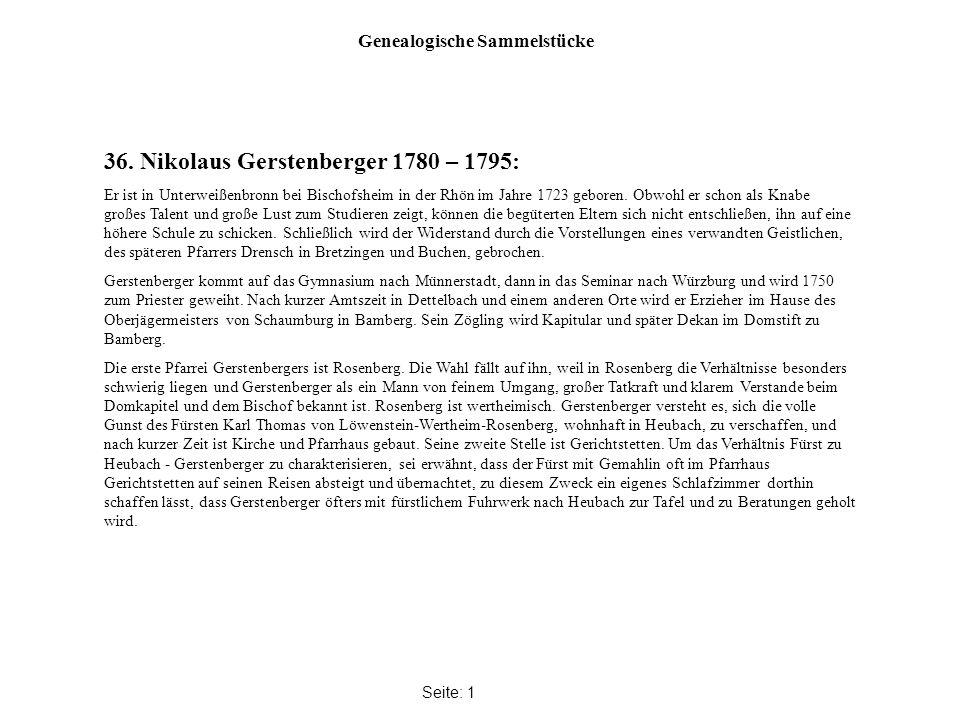 Genealogische Sammelstücke Seite: 1 36.