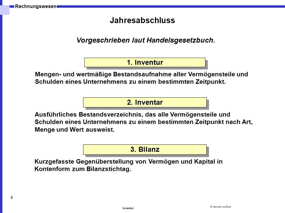 ©lernen online Rechnungswesen Inventur 2 Jahresabschluss Vorgeschrieben laut Handelsgesetzbuch. 1. Inventur Mengen- und wertmäßige Bestandsaufnahme al