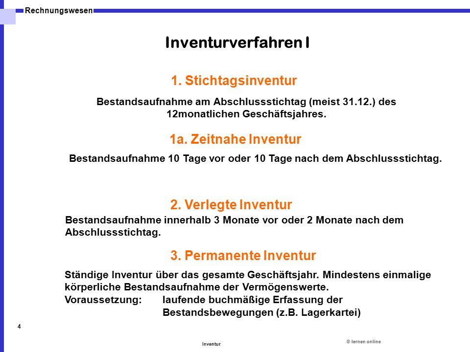 ©lernen online Rechnungswesen Inventur 4 1a. Zeitnahe Inventur Bestandsaufnahme 10 Tage vor oder 10 Tage nach dem Abschlussstichtag. 2. Verlegte Inven