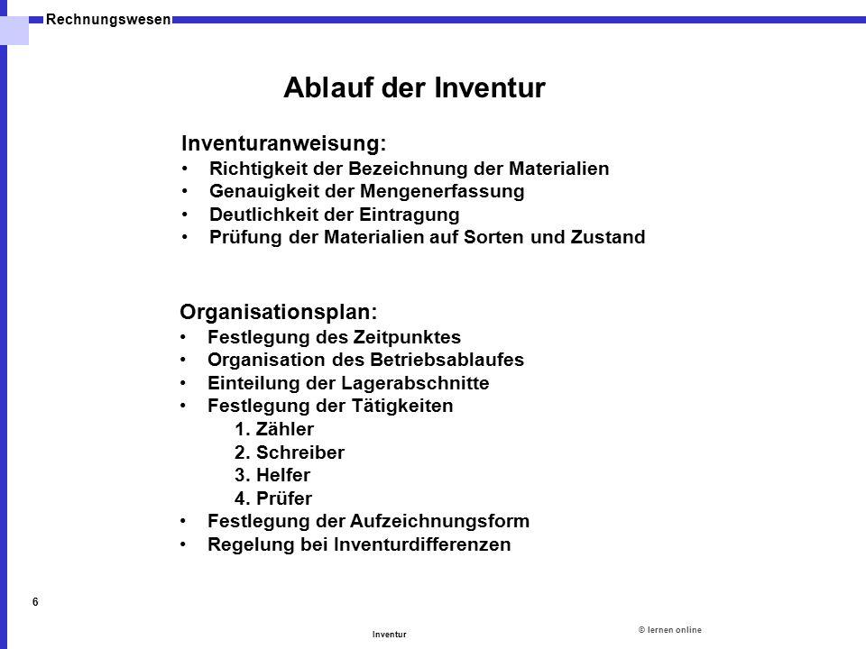 ©lernen online Rechnungswesen Inventur 6 Inventuranweisung: Richtigkeit der Bezeichnung der Materialien Genauigkeit der Mengenerfassung Deutlichkeit d