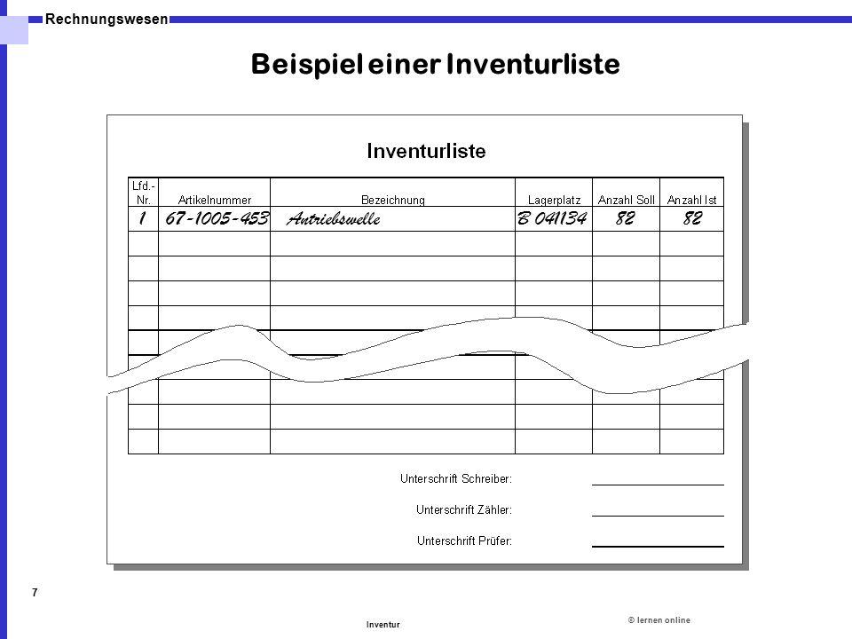 ©lernen online Rechnungswesen Inventur 7 Beispiel einer Inventurliste 167-1005-453AntriebswelleB 0411348282