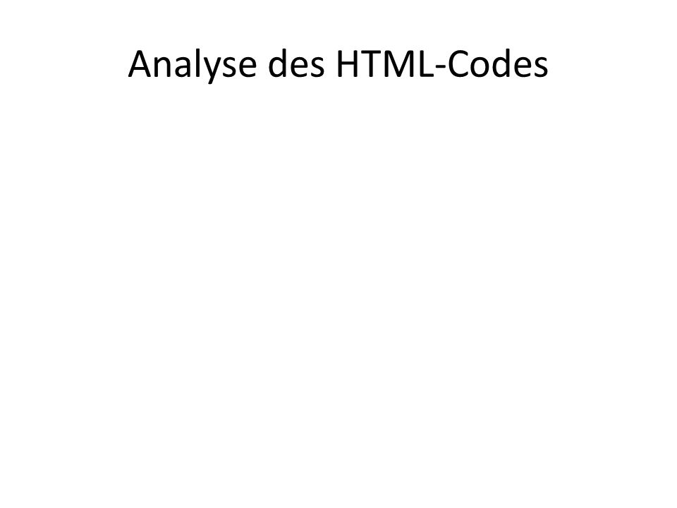 Analyse des HTML-Codes