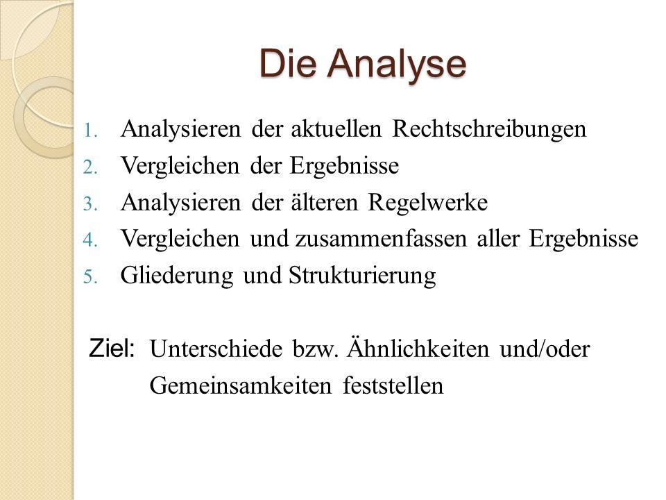Die Analyse 1. Analysieren der aktuellen Rechtschreibungen 2. Vergleichen der Ergebnisse 3. Analysieren der älteren Regelwerke 4. Vergleichen und zusa