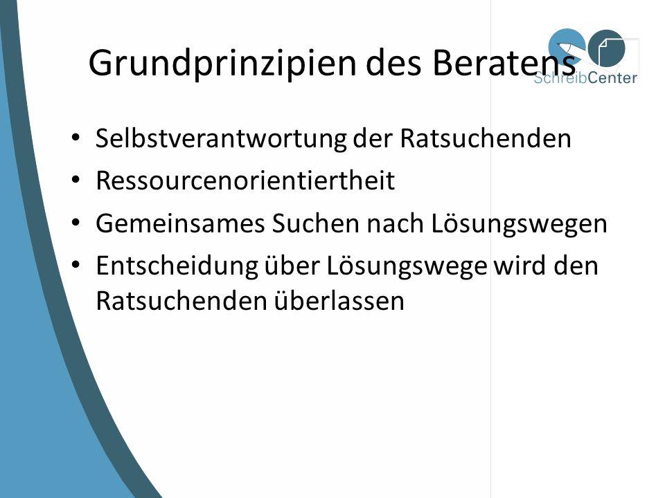 Grundprinzipien des Beratens Selbstverantwortung der Ratsuchenden Ressourcenorientiertheit Gemeinsames Suchen nach Lösungswegen Entscheidung über Lösungswege wird den Ratsuchenden überlassen
