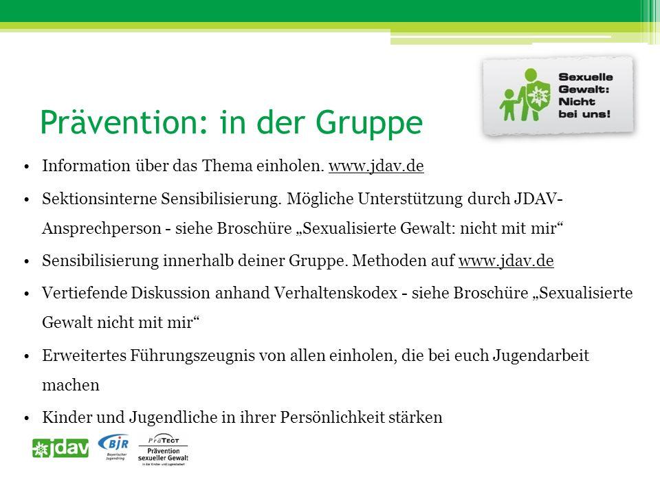 Prävention: in der Gruppe Information über das Thema einholen.