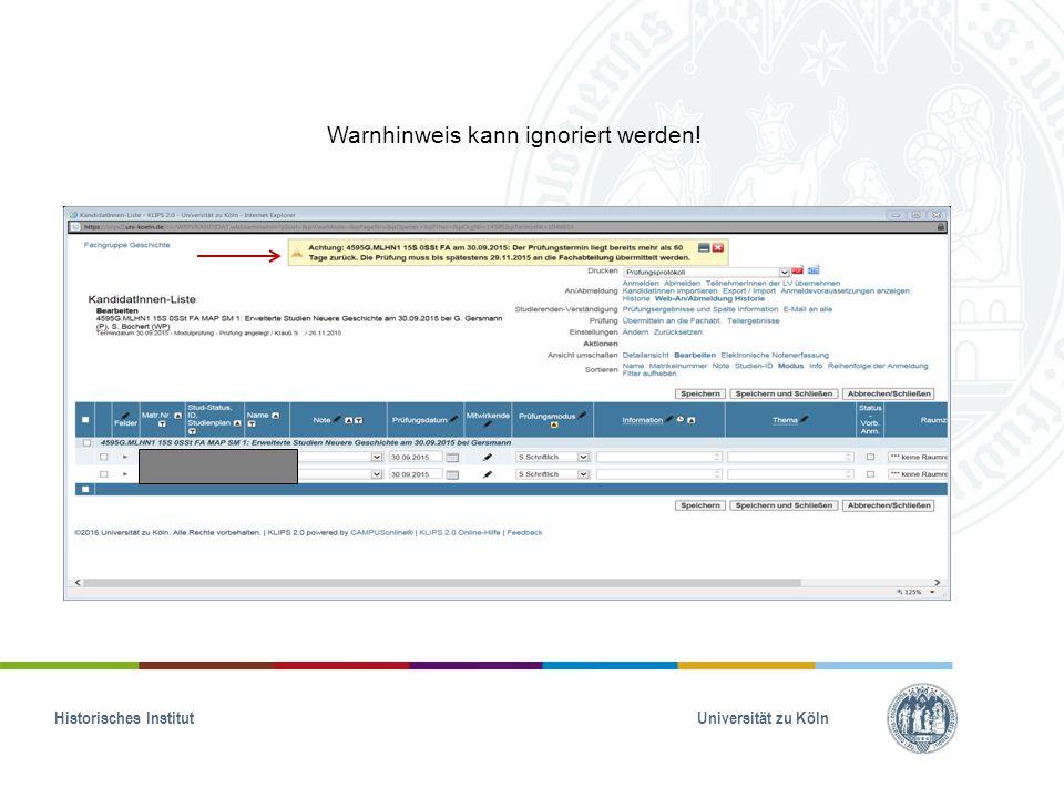 Historisches Institut Universität zu Köln Warnhinweis kann ignoriert werden!