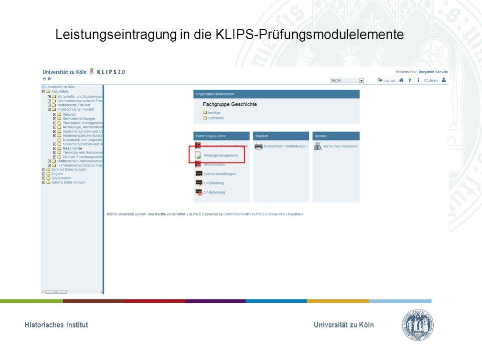 Leistungseintragung in die KLIPS-Prüfungsmodulelemente