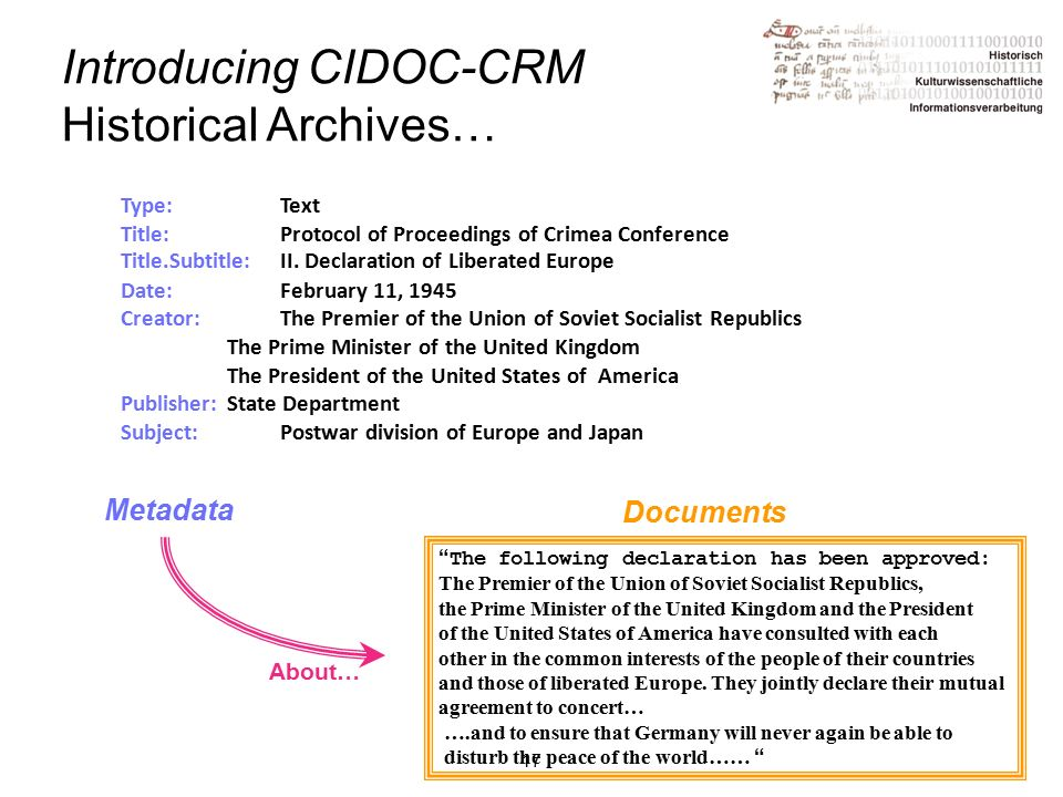 17 Introducing CIDOC-CRM Historical Archives… Type:Text Title: Protocol of Proceedings of Crimea Conference Title.Subtitle: II.