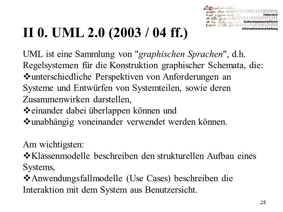 II 0. UML 2.0 (2003 / 04 ff.) 28 UML ist eine Sammlung von graphischen Sprachen , d.h.