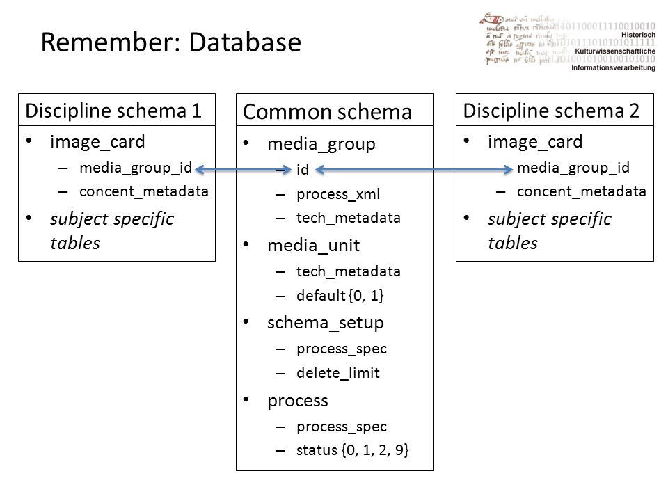 Remember: Database Common schema media_group – id – process_xml – tech_metadata media_unit – tech_metadata – default {0, 1} schema_setup – process_spec – delete_limit process – process_spec – status {0, 1, 2, 9} Discipline schema 2 image_card – media_group_id – concent_metadata subject specific tables Discipline schema 1 image_card – media_group_id – concent_metadata subject specific tables
