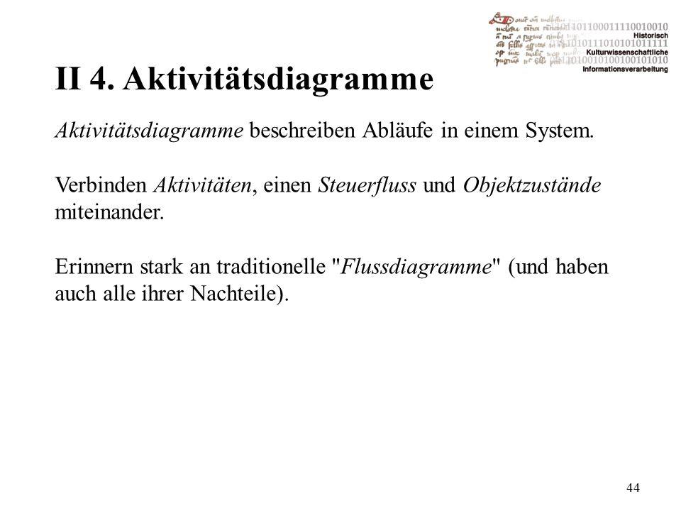 II 4. Aktivitätsdiagramme 44 Aktivitätsdiagramme beschreiben Abläufe in einem System.