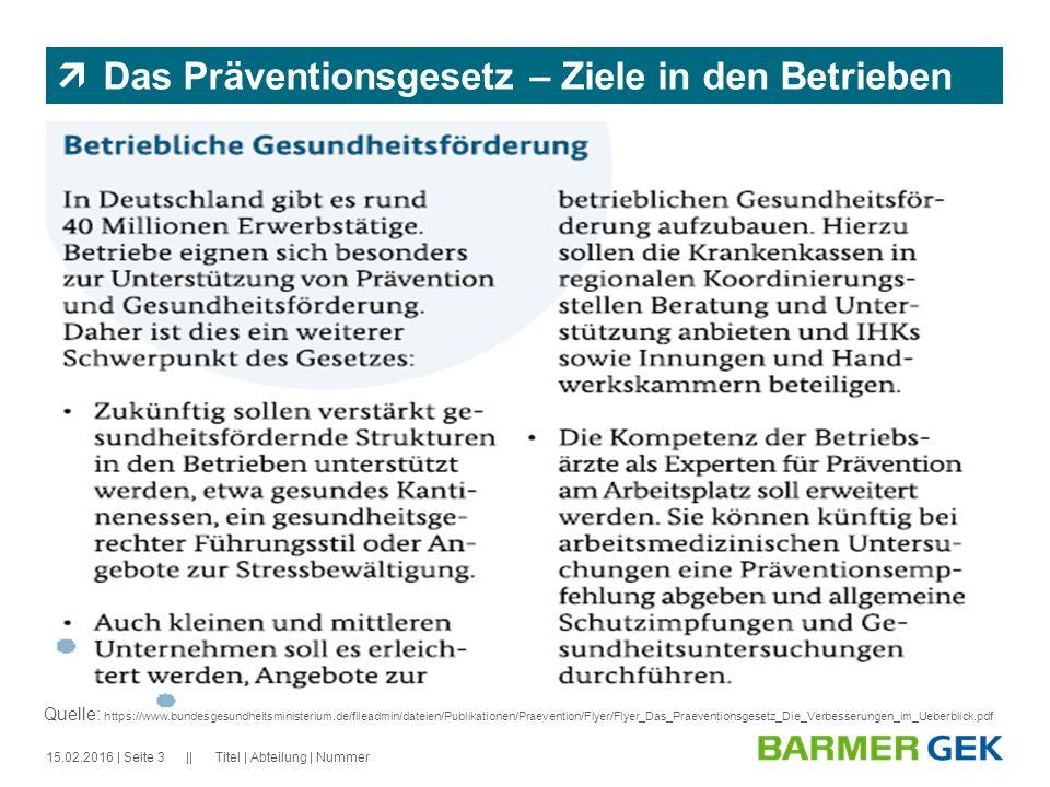 || 15.02.2016Titel | Abteilung | Nummer| Seite 3  Das Präventionsgesetz – Ziele in den Betrieben Quelle: https://www.bundesgesundheitsministerium.de/