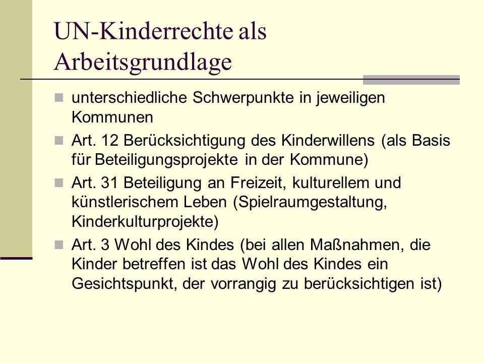UN-Kinderrechte als Arbeitsgrundlage unterschiedliche Schwerpunkte in jeweiligen Kommunen Art.