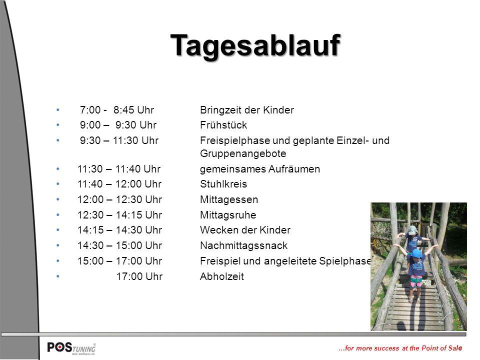 …for more success at the Point of Sa le Tagesablauf 7:00 - 8:45 Uhr Bringzeit der Kinder 9:00 – 9:30 UhrFrühstück 9:30 – 11:30 Uhr Freispielphase und geplante Einzel- und Gruppenangebote 11:30 – 11:40 Uhrgemeinsames Aufräumen 11:40 – 12:00 UhrStuhlkreis 12:00 – 12:30 UhrMittagessen 12:30 – 14:15 UhrMittagsruhe 14:15 – 14:30 UhrWecken der Kinder 14:30 – 15:00 Uhr Nachmittagssnack 15:00 – 17:00 UhrFreispiel und angeleitete Spielphase 17:00 UhrAbholzeit