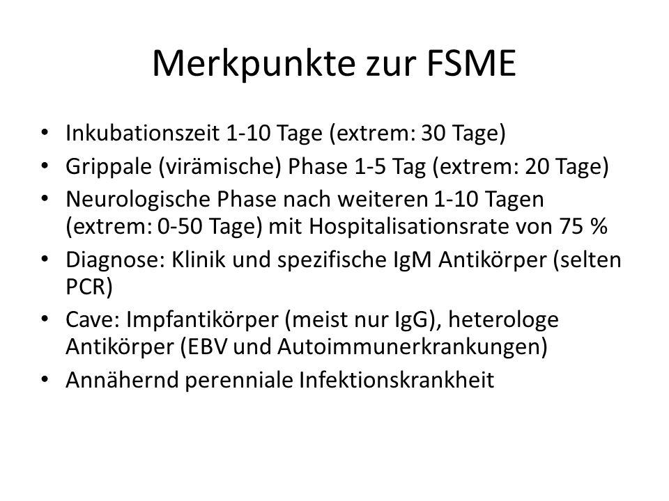 Merkpunkte zur FSME Inkubationszeit 1-10 Tage (extrem: 30 Tage) Grippale (virämische) Phase 1-5 Tag (extrem: 20 Tage) Neurologische Phase nach weiteren 1-10 Tagen (extrem: 0-50 Tage) mit Hospitalisationsrate von 75 % Diagnose: Klinik und spezifische IgM Antikörper (selten PCR) Cave: Impfantikörper (meist nur IgG), heterologe Antikörper (EBV und Autoimmunerkrankungen) Annähernd perenniale Infektionskrankheit