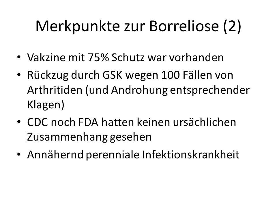 Merkpunkte zur Borreliose (2) Vakzine mit 75% Schutz war vorhanden Rückzug durch GSK wegen 100 Fällen von Arthritiden (und Androhung entsprechender Kl