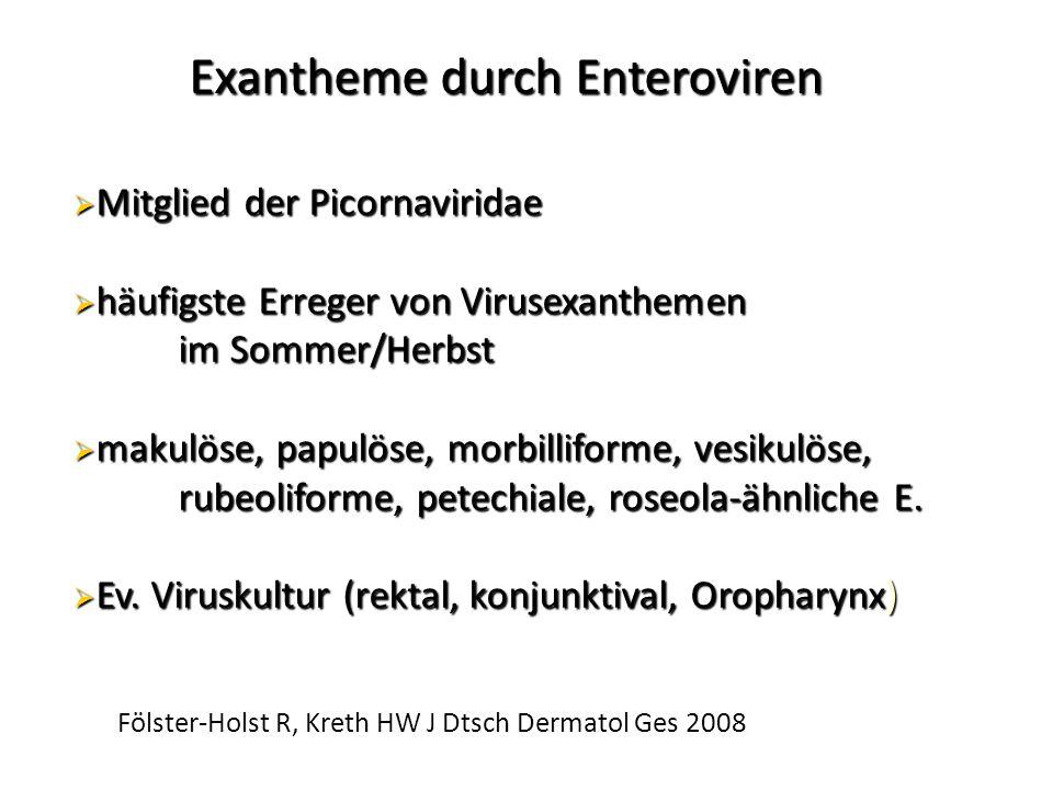 Exantheme durch Enteroviren  Mitglied der Picornaviridae  häufigste Erreger von Virusexanthemen im Sommer/Herbst  makulöse, papulöse, morbilliforme, vesikulöse, rubeoliforme, petechiale, roseola-ähnliche E.