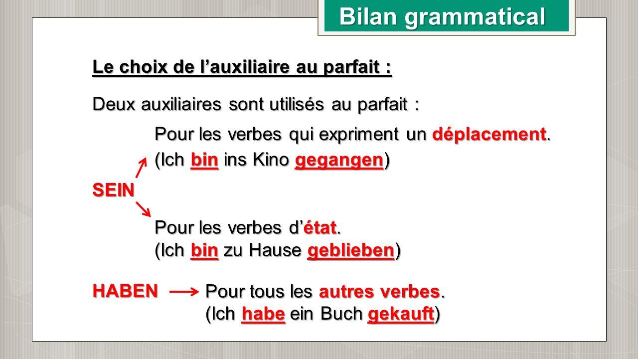 Bilan grammatical Le choix de l'auxiliaire au parfait : Deux auxiliaires sont utilisés au parfait : SEIN HABEN Pour les verbes qui expriment un déplac