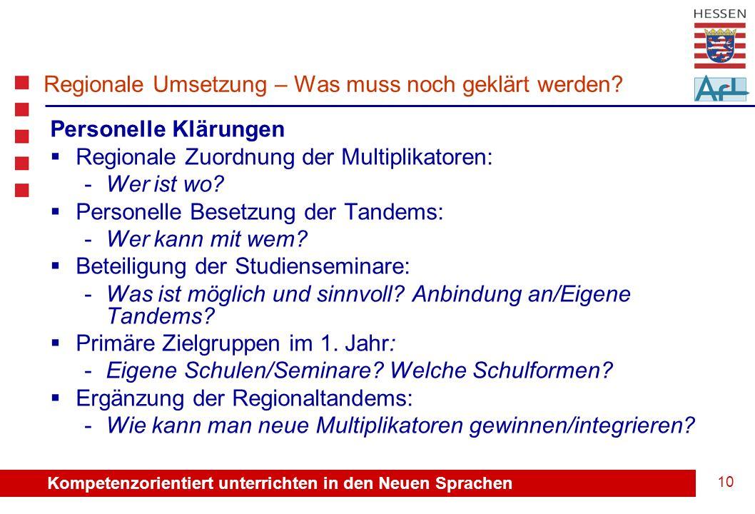 Kompetenzorientiert unterrichten in den Neuen Sprachen 10 Regionale Umsetzung – Was muss noch geklärt werden.