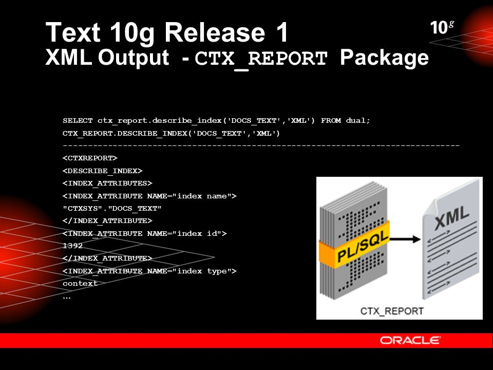 Text 10g Release 1 XML Output - CTX_REPORT Package SELECT ctx_report.describe_index( DOCS_TEXT , XML ) FROM dual; CTX_REPORT.DESCRIBE_INDEX( DOCS_TEXT , XML ) -------------------------------------------------------------------------------- CTXSYS . DOCS_TEXT 1392 context …