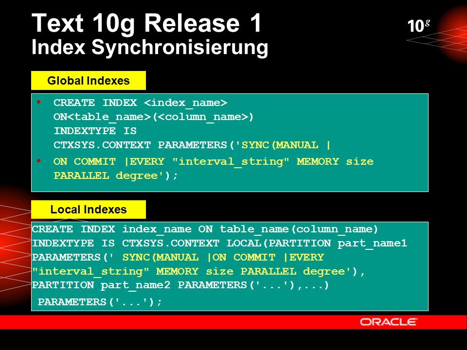 Text 10g Release 1 Index Synchronisierung  CREATE INDEX ON ( ) INDEXTYPE IS CTXSYS.CONTEXT PARAMETERS( SYNC(MANUAL |  ON COMMIT |EVERY interval_string MEMORY size PARALLEL degree ); CREATE INDEX index_name ON table_name(column_name) INDEXTYPE IS CTXSYS.CONTEXT LOCAL(PARTITION part_name1 PARAMETERS( SYNC(MANUAL |ON COMMIT |EVERY interval_string MEMORY size PARALLEL degree ), PARTITION part_name2 PARAMETERS( ... ),...) PARAMETERS( ... ); Global Indexes Local Indexes