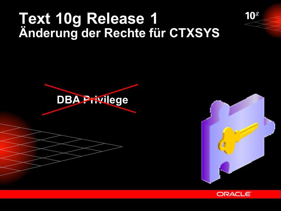Text 10g Release 1 Änderung der Rechte für CTXSYS DBA Privilege