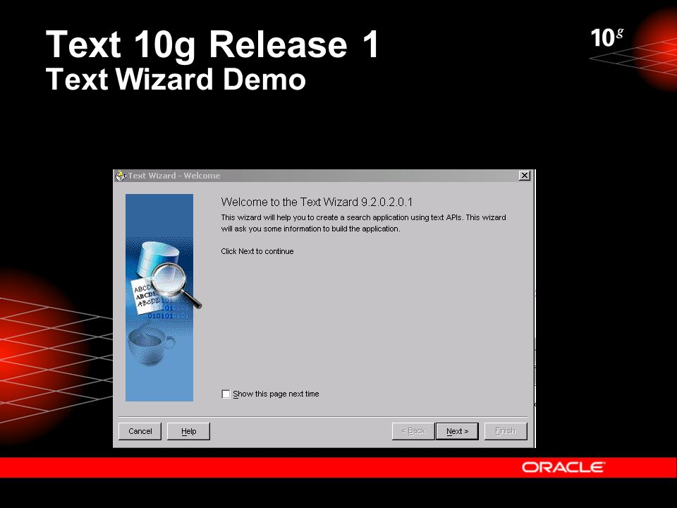 Text 10g Release 1 Text Wizard Demo