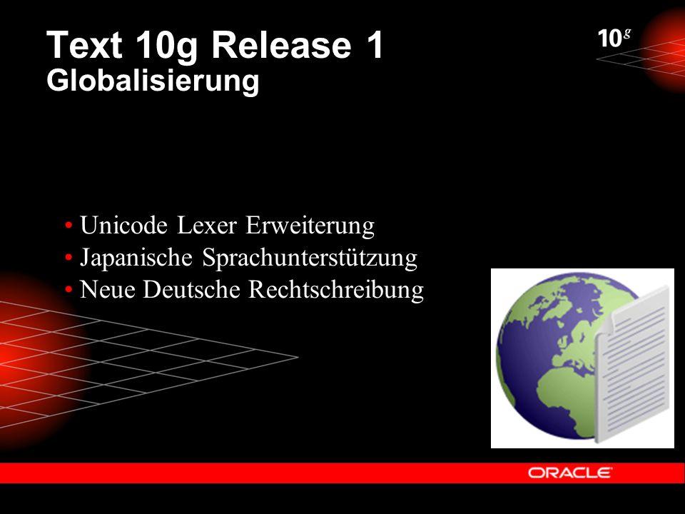 Text 10g Release 1 Unicode Lexer Neue Lexer Präferenz – World_Lexer Support für jede Unicode 4.0 Sprache