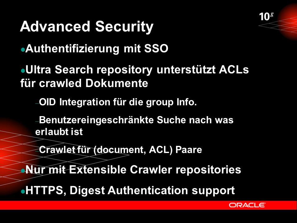 Advanced Security Authentifizierung mit SSO Ultra Search repository unterstützt ACLs für crawled Dokumente – OID Integration für die group Info.