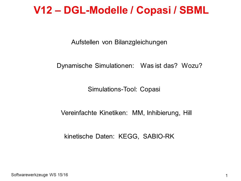 Softwarewerkzeuge WS 15/16 32 Enzyme: Michaelis-Menten-Kinetik Reaktionsrate: Steady state: S E ES T k on k off Gesamtmenge an Enzym ist konstant: => Umsatz: