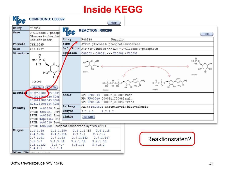 Softwarewerkzeuge WS 15/16 41 Inside KEGG Reaktionsraten