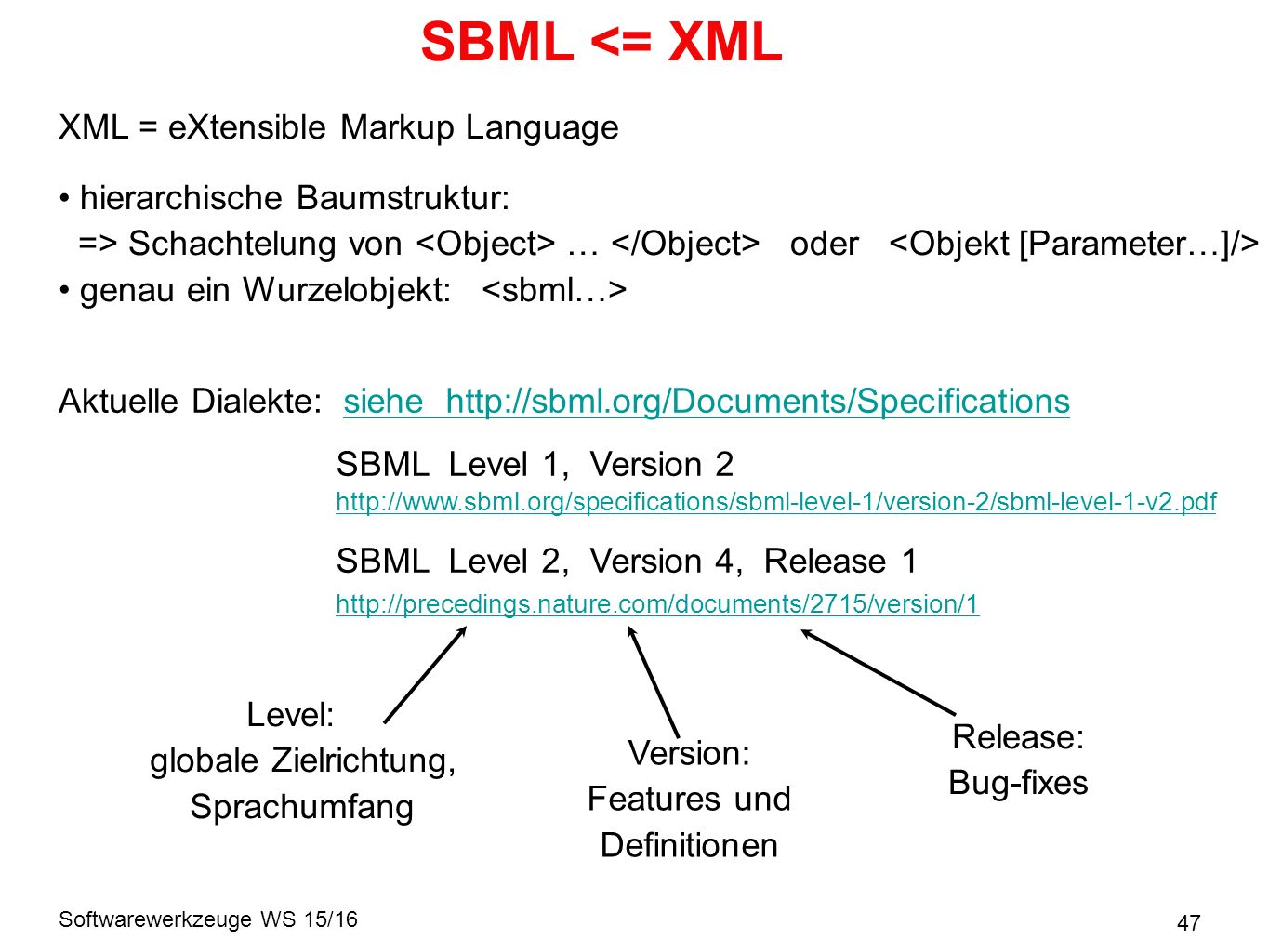 Softwarewerkzeuge WS 15/16 SBML <= XML 47 XML = eXtensible Markup Language hierarchische Baumstruktur: => Schachtelung von … oder genau ein Wurzelobjekt: Aktuelle Dialekte: SBML Level 1, Version 2 SBML Level 2, Version 4, Release 1 Level: globale Zielrichtung, Sprachumfang Version: Features und Definitionen Release: Bug-fixes siehe http://sbml.org/Documents/Specifications http://precedings.nature.com/documents/2715/version/1 http://www.sbml.org/specifications/sbml-level-1/version-2/sbml-level-1-v2.pdf