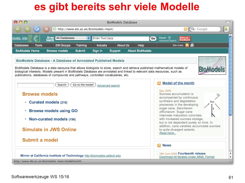 Softwarewerkzeuge WS 15/16 es gibt bereits sehr viele Modelle 61