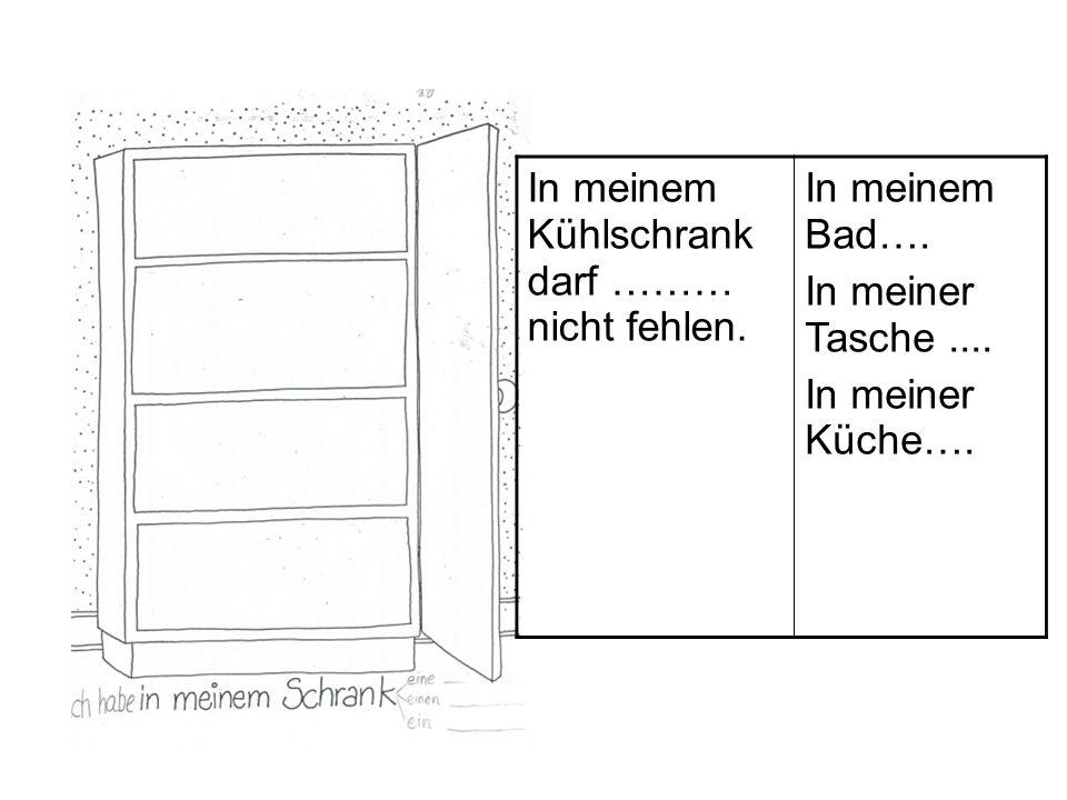 In meinem Kühlschrank darf ……… nicht fehlen. In meinem Bad…. In meiner Tasche.... In meiner Küche….