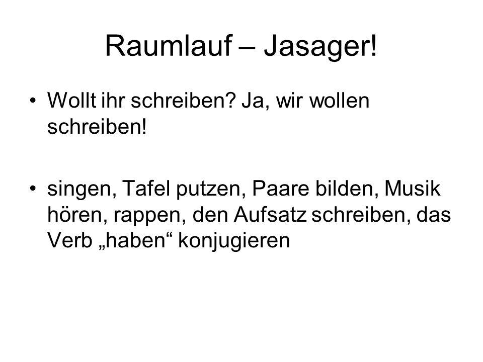 Raumlauf – Jasager. Wollt ihr schreiben. Ja, wir wollen schreiben.