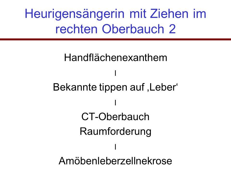 Heurigensängerin mit Ziehen im rechten Oberbauch 2 Handflächenexanthem ⃓ Bekannte tippen auf 'Leber' ⃓ CT-Oberbauch Raumforderung ⃓ Amöbenleberzellnek