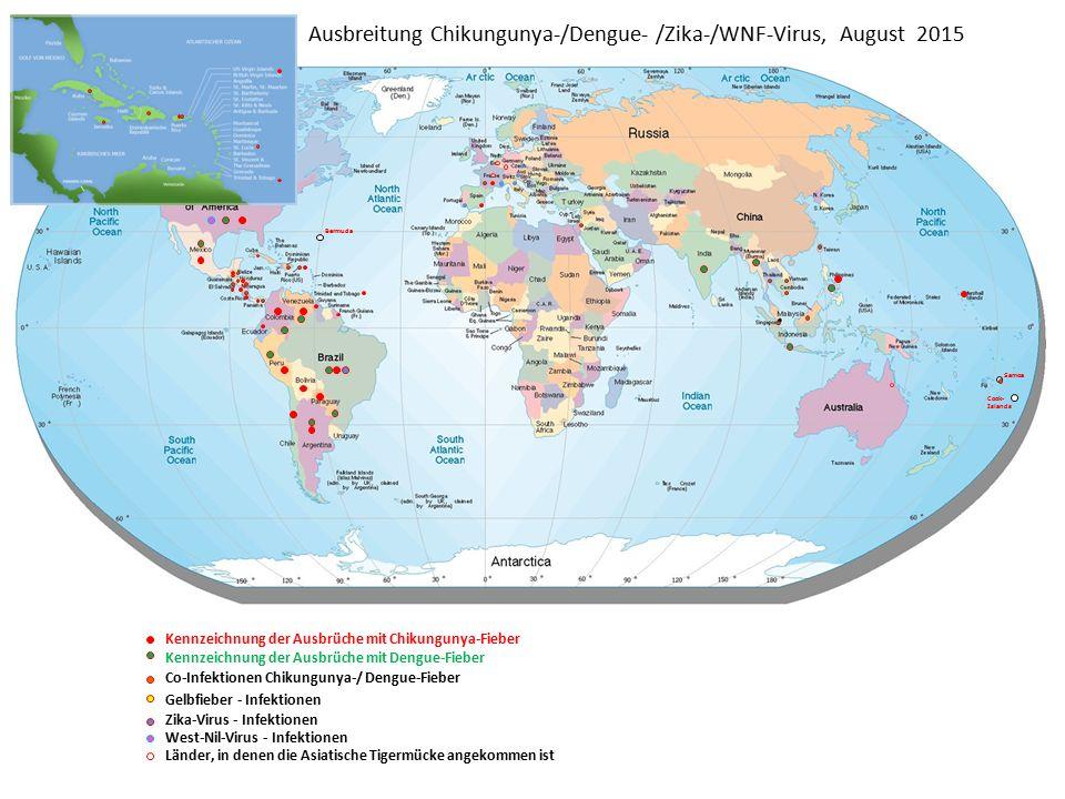 Ausbreitung Chikungunya-/Dengue- /Zika-/WNF-Virus, August 2015 Bermuda Samoa Cook- Islands Kennzeichnung der Ausbrüche mit Chikungunya-Fieber Kennzeichnung der Ausbrüche mit Dengue-Fieber Co-Infektionen Chikungunya-/ Dengue-Fieber Gelbfieber - Infektionen Zika-Virus - Infektionen West-Nil-Virus - Infektionen Länder, in denen die Asiatische Tigermücke angekommen ist
