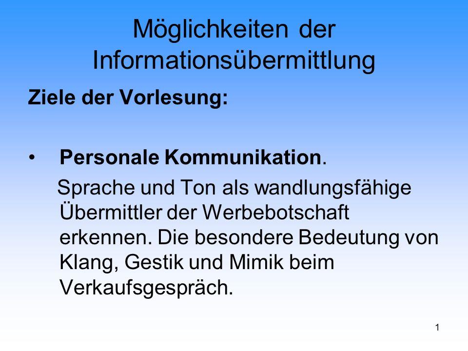 1 Möglichkeiten der Informationsübermittlung Ziele der Vorlesung: Personale Kommunikation. Sprache und Ton als wandlungsfähige Übermittler der Werbebo