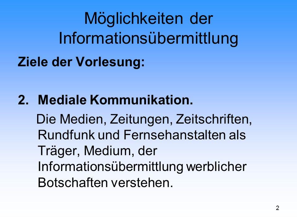 2 Möglichkeiten der Informationsübermittlung Ziele der Vorlesung: 2.Mediale Kommunikation. Die Medien, Zeitungen, Zeitschriften, Rundfunk und Fernseha