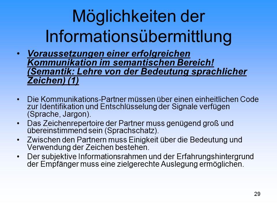 29 Möglichkeiten der Informationsübermittlung Voraussetzungen einer erfolgreichen Kommunikation im semantischen Bereich! (Semantik: Lehre von der Bede