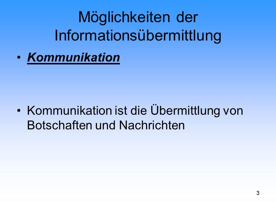 4 Möglichkeiten der Informationsübermittlung Personale Kommunikation Kommunikation findet unmittelbar zwischen den Menschen statt, in der Familie, in der Schule, beim Verkaufsgespräch im Laden