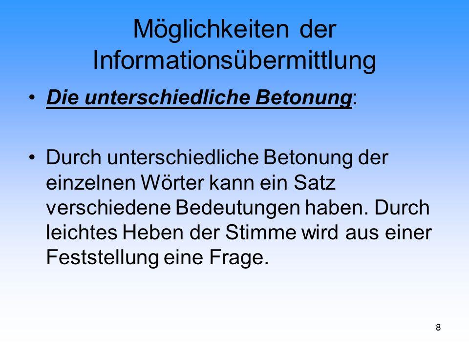 29 Möglichkeiten der Informationsübermittlung Voraussetzungen einer erfolgreichen Kommunikation im semantischen Bereich.