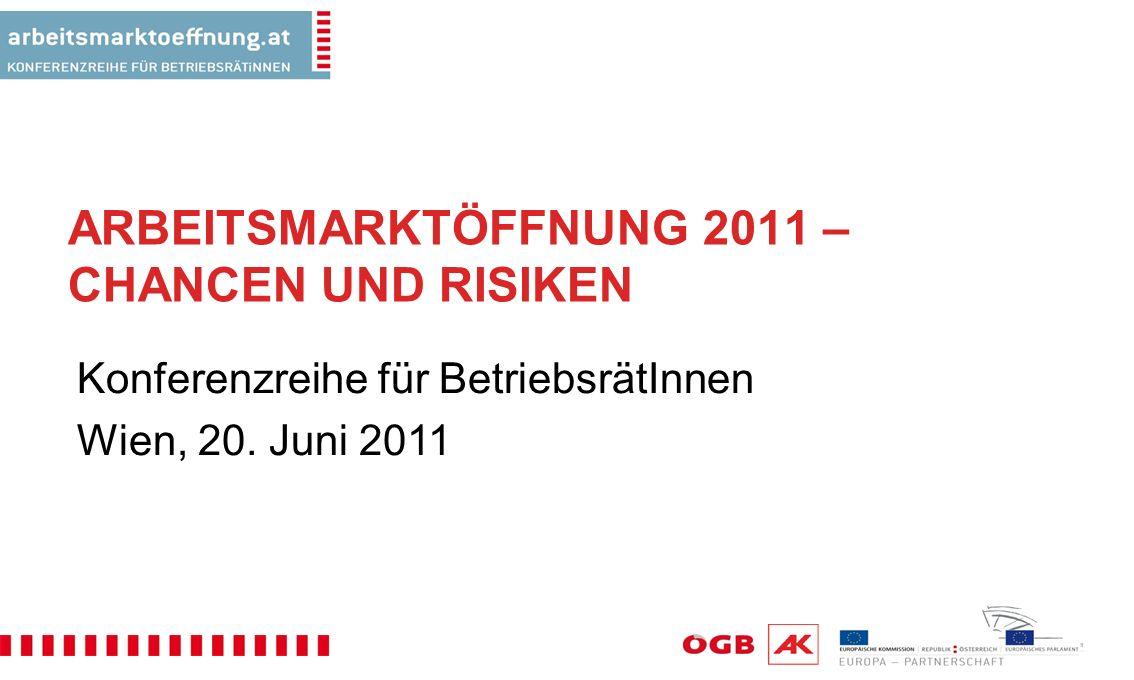 ARBEITSMARKTÖFFNUNG 2011 – CHANCEN UND RISIKEN Konferenzreihe für BetriebsrätInnen Wien, 20.