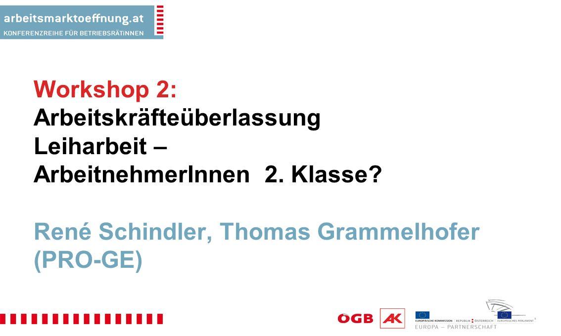 Workshop 2: Arbeitskräfteüberlassung Leiharbeit – ArbeitnehmerInnen 2.