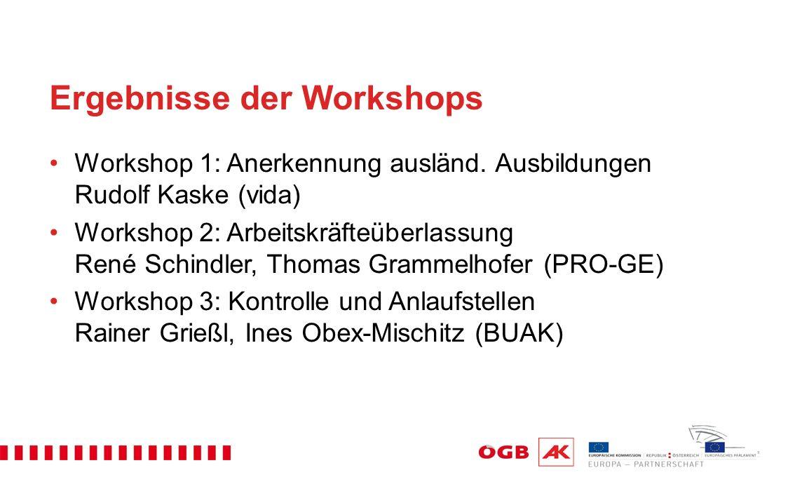 Ergebnisse der Workshops Workshop 1: Anerkennung ausländ.
