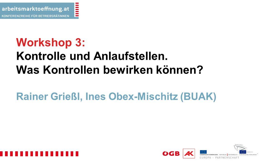 Workshop 3: Kontrolle und Anlaufstellen.Was Kontrollen bewirken können.