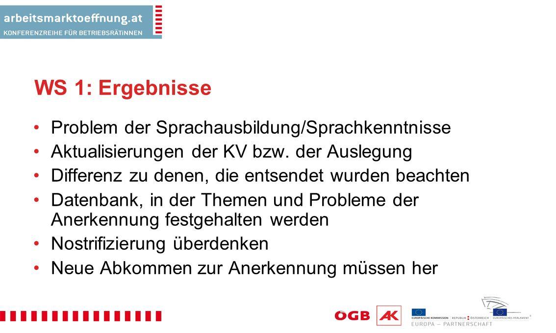 WS 1: Ergebnisse Problem der Sprachausbildung/Sprachkenntnisse Aktualisierungen der KV bzw.