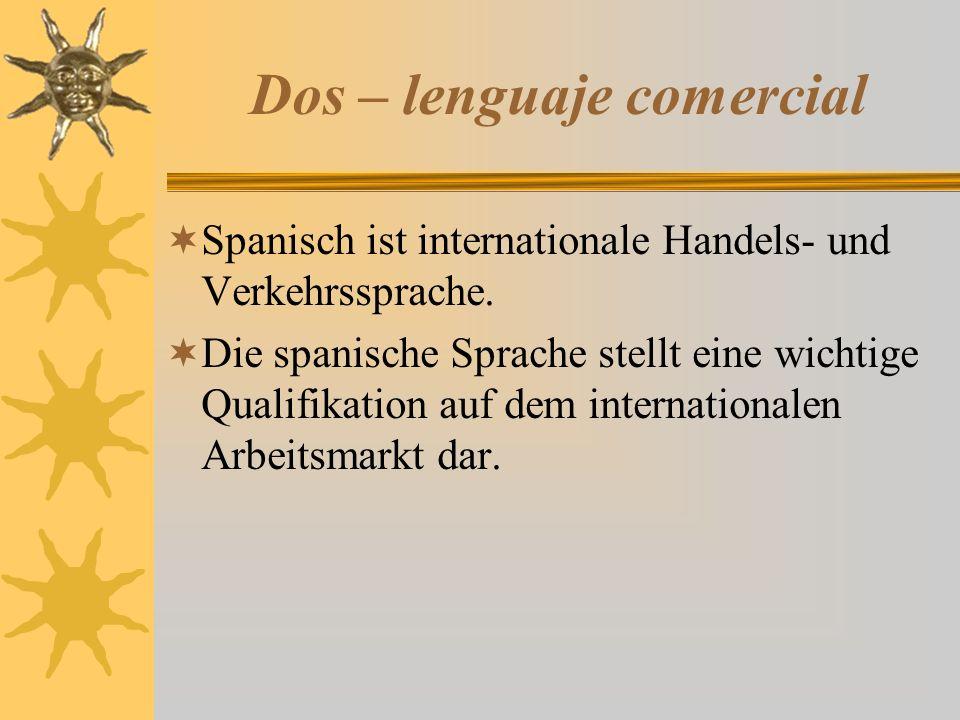 Dos – lenguaje comercial  Spanisch ist internationale Handels- und Verkehrssprache.